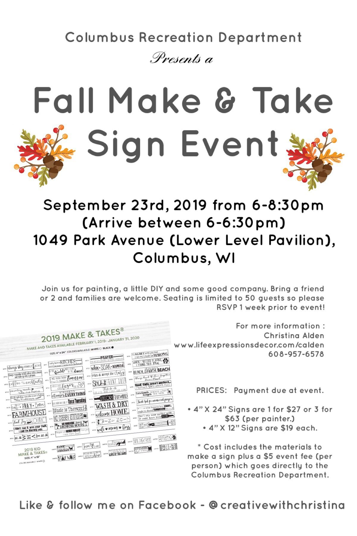 Make and Take Sign Event flyer